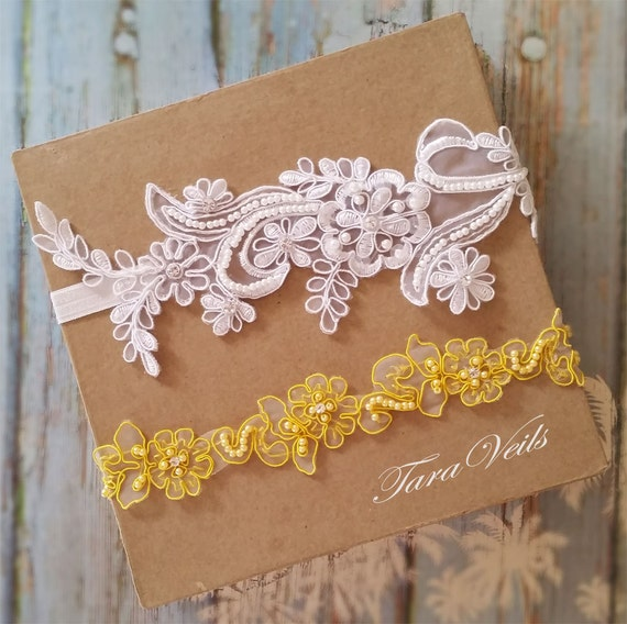 Wedding Garter Setwhite And Yellow GarterRhinestone White