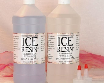 Ice Resin 64 oz Jeweler Grade Self Doming Clear Epoxy Refill Kit Cures At Room Temperature Clear Resin and Hardener