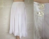 Vintage Fine Pure White Cotton Petticoat with Frill  Vintage Under Skirt  Vintage Petticoat  SIZE UK 10