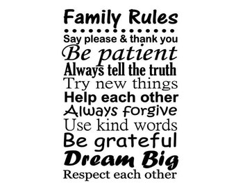 Family Rules Decal, Vinyl Wall Art, Family Room Decor, Family Subway Art, Personalized Family Decal, Custom Family Sign, Living Room Decal