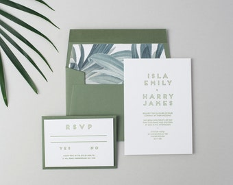 Letterpress Wedding Invitation Suite (Main Invite and Envelopes) (50 Pieces) - Isla Design