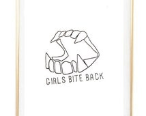 girls bite back quote city boho Typographic Print print wall decor Typography brandy melville sign poster framed quote tumblr room decor