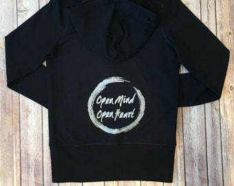 NEW! Open Mind Open Heart Zip Up |  | Yoga Inspired | Comfy Terry Cloth | Super Soft!