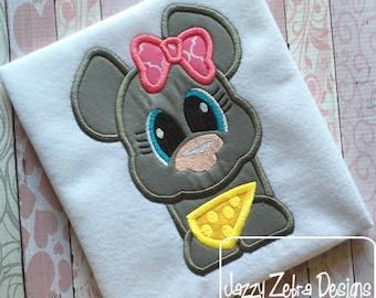 Mouse 105 Appliqué Embroidery Design - mouse applique design - girl applique design