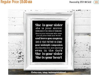 60% OFF SALE Black and White, Gift Ideas for Sister, Printable Art, Gifts for Sisters, Quote Poster, Christmas Gift Ideas for Sister, Big Si