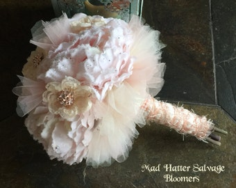 Pink Silk Bridal Bouquet - Vintage Jewelry