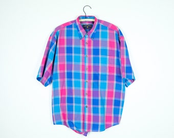 Red and Blue Plaid Shirt L - Vintage Plaid Shirt Men's Large - Red and Blue Short Sleeve Oxford L - Picnic Shirt - Summer Shirt - Colorful