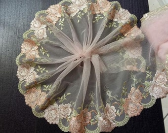 "2 Yards Fabulous Light Pink Tulle Venice Big Rose Floral Embroidery Wedding 6.88"" Width High Quality"
