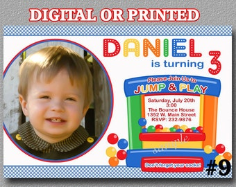 Bounce House Birthday Party Invitation with Photo YOU Print Digital File or PRINTED, bounce party invite, Bounce House Birthday Invitation