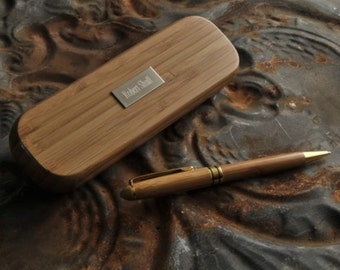 Personalized pens bamboo monogrammed engraved custom desk promotional products expensive ink luxury fancy nice