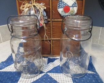 Set of Two Vintage Drey Brand Bale Top Canning Jars