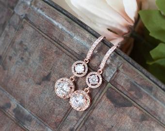 Rose gold diamond earrings rose gold round earrings pink bridal jewelry pink diamond earrings round diamond earrings cubic zirconia dangle