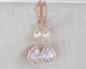Rose gold and pearl earrings rose gold and pearl bridal earrings teardrop diamond rose gold earrings dangle wedding earrings pearl earrings