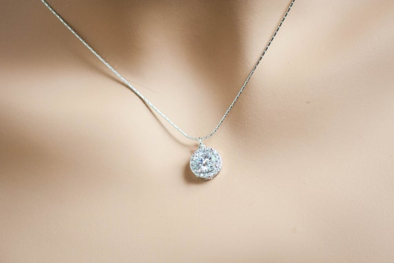 Single Stone Diamond Pendant Necklace
