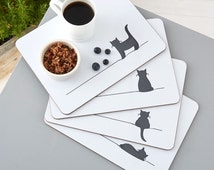 Cat Placemats, Set of Four, Gift for Cat Lovers, Tablemats