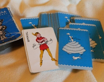 Vintage Tom Thumb Miniture Playing Cards With a Proper Little Lady With Her Parasol Walking Her Dog.