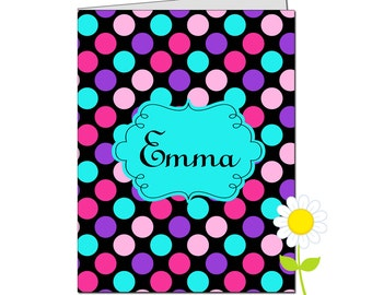 Personalized Folder for Kids - Polka Dot Pocket Folder for Girls - Custom School Folder - Black, Pink, Purple & Aqua Polka Dot Folder