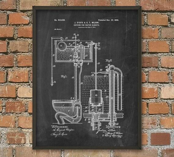 Toilet Cistern Patent Print Bathroom Poster Restroom Wall