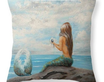 Mermaid throw pillow,  beach house decor, mermaid gift, original painting by Nancy Quiaoit