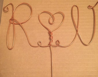 Custom Rustic Wire Cake Topper Wedding Birthday - Names, Letters, Hearts