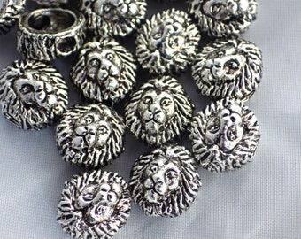20 x Silver Metal Lion Head Beads