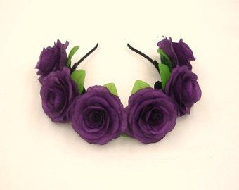 Purple Flower Crown,Purple Rose Headband,Purple Flower Headband,Purple Rose Crown,Girls,Women,Adult Hairband,Festival Crown,Wedding Headband