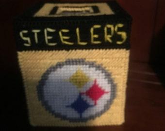 "Handmade ""Steelers"" plastic canvas tissue box cover"