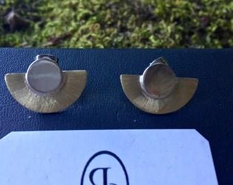 Brass & silver fan earrings
