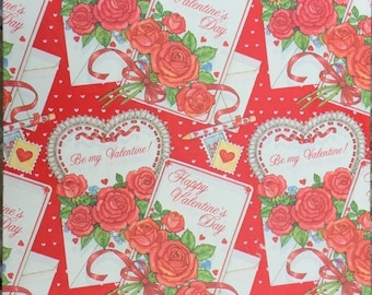 Valentine Gift Wrap American Greetings 1979 Vintage Classic Traditional