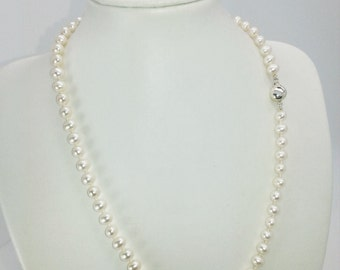 Ivory freshwater (5mm) high luster pearl necklace 925 silver clasp