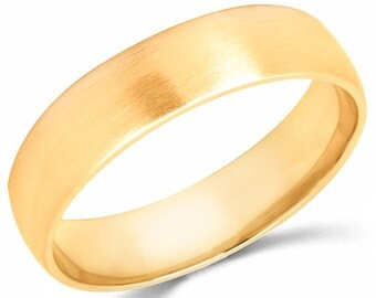 10K Solid Yellow Gold 5mm Brush Finish Wedding Band Ring