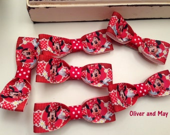 Minnie Mouse Ribbon Hairbow Clips Non Slip Grip Alligator Clips Single Clip, 2 Clips, 6 Clips