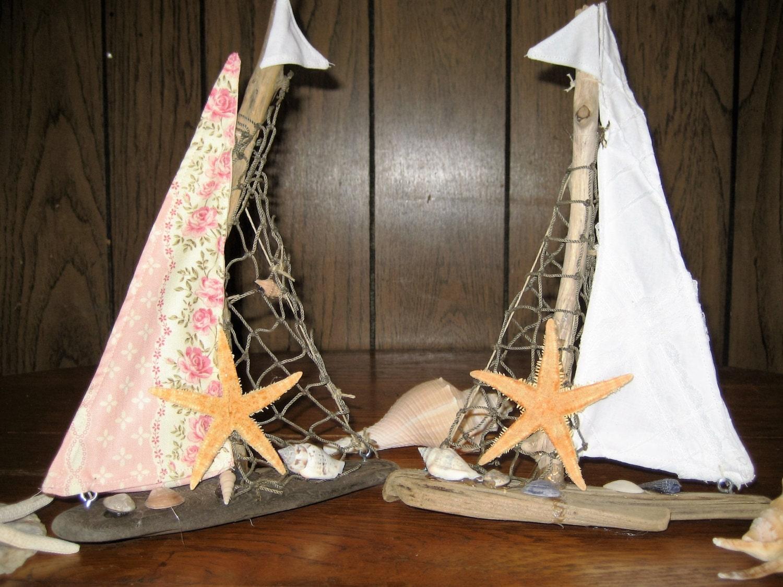 Drift Wood Sailboat Nautical Decor Beach Decor Home