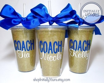 Personalized Coach Glitter Tumbler, Acrylic Cup with Straw, Cheer Coach Gift, Swim Coach, Softball Coach, Custom Coach Gift