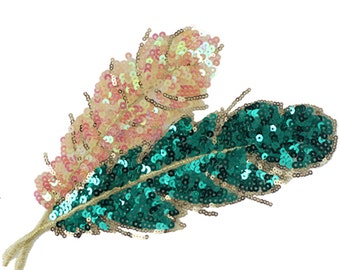 Leaves sequined applique patch Paillette vintage embroidered patch T-shirt or Coat decoration patch