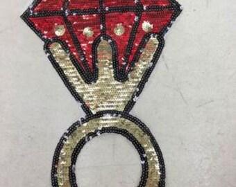 Ruby ring Sequined applique patch Paillette vintage patch T-shirt or Coat decoration patch