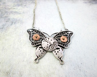 Large Butterfly Necklace Steampunk Gears Clockwork Necklace Watch Parts Necklace Two Tone Necklace Steam Punk Butterfly Jewelry Gift for Her