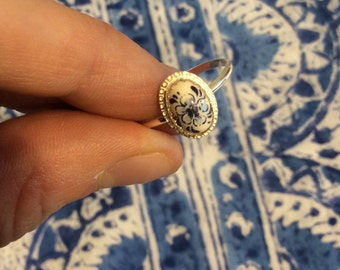 Sterling Silver Delft Ring