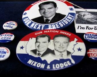 Richard M. Nixon & Lodge, 1960 Presidential Campaign Buttons, Vintage Lot 9