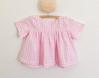 Pink gingham empire blouse