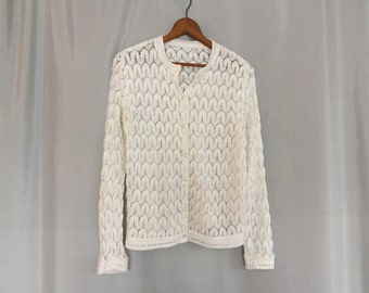 White Sweater Cardigan White Sweater Knit Crochet Chevron Pattern Women's Small