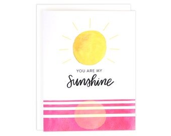 You Are My Sunshine Card, You Are My Sunshine, Watercolor Card, Friendship Card, Love Card, You Are My Person Card, Pink Card, Thank You