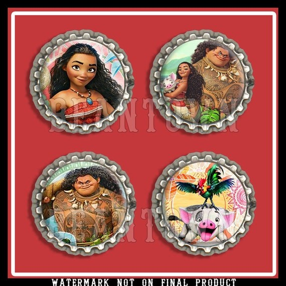 Disney Moana Bottle Cap Printables