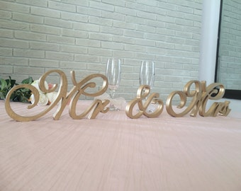 Wedding reception cut out letters Mr & Mrs.  - unpainted DIY, painted, Glitter. Sweet heart table sign. Rustic Mr and Mrs signs
