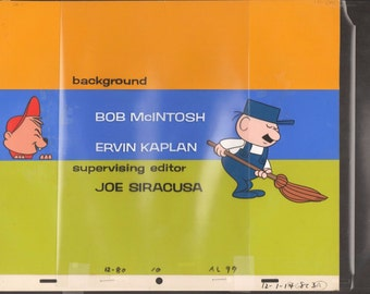 The Alvin show 1961-62 Background and 2 production cels with COA End Credits 2*