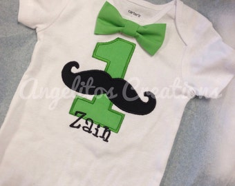 First Birthday mustache onesie - Little gentleman theme Cake Smash - baby boy outfit personalized onesie bodysuit with embroidered name