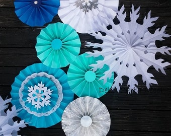 Snowflake backdrop paper fans and snowflake fans with bling for winter snow party, Frozen backdrop, winter ONEderland...