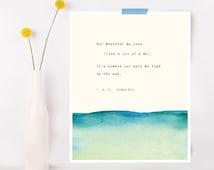 E.E. Cummings poetry art, wall decor, ocean quote poster, watercolor print, poem art,