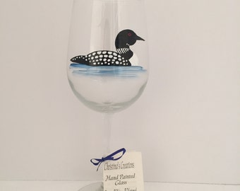 Painted Wine Glasses, Loon