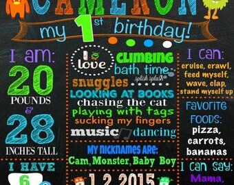 Monster Themed First Birthday Chalkboard File - Monsters - Boy Birthday Chalkboard - Monster Party - Orange - Blue - Green - Purple - Boys